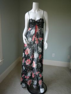 Vintage Bob Mackie Sheer Black Floral w/Lace Bodice Nightgown Label