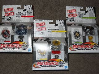 LOT OF 3 BEYBLADE METAL FURY L DRAGO DESTRUCTOR   DIVINE CROWN