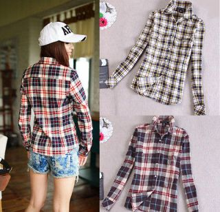 Women Fit Button Down Casual Slim Shirt Plaid Flannel Warm Shirts Top
