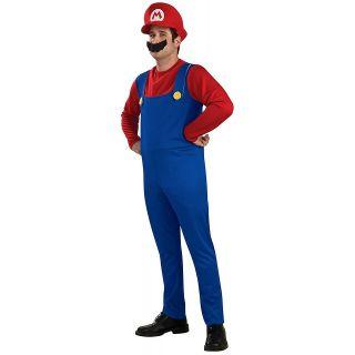 Mario Costume Adult Mens Super Bros Brothers Halloween in Std & Plus