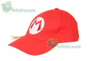 NEW Super Mario Bros Anime Cosplay Kids Hat Mario M Cap Red Wii