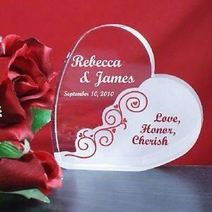 Engraved Love, Honor & Cherish Heart Wedding Cake Topper