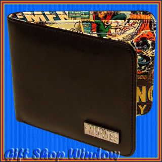 NEW MARVEL COMICS BLACK WALLET GIFT BOXED INSIDE PRINT AMAZING QUALITY
