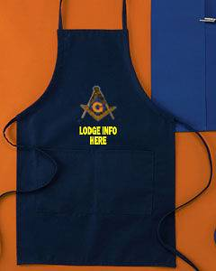 MASON MASONIC APRON CUSTOM EMBROIDERED WITH YOUR LODGE INFO BELOW LOGO