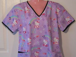 NEW Nursing Medical Scrubs Top Hello KItty Purple LARGE
