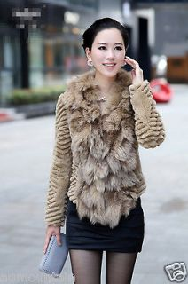 New 100% Real Rex Rabbit Fur Fox Trim Women Coat Jacket Clothing 5