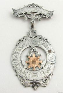 Vintage Past Master Multi Symbol Masonic Medal   Silver & 10k Gold
