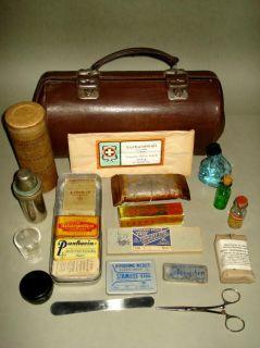 Old Doctors Nurse Leather Bag w/h Some Medical Equipment Inside