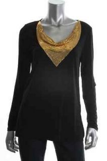 Michael Kors NEW Black Long Sleeve Mesh Chain Cowl Neck Tunic Blouse