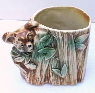 Vintage McCoy Pottery Vase Embossed Honey Bear Bamboo Leaf Design