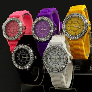 New Cute Stylish Silicone Crystal Teenagers Lady Girls Jelly Watch,A14