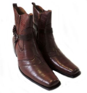CASUAL MENS HIGH ANKLE BOOTS LEATHER ZIPPERED DRESS SHOES / BROWN