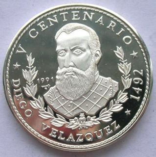 Cuba 1991 Diego Velazquez 10 Pesos 1oz Silver Coin,Proof