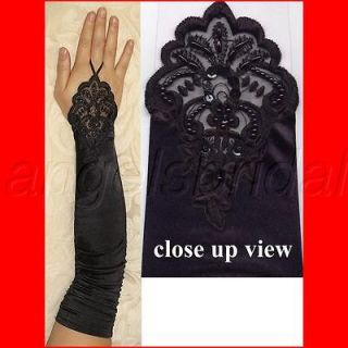 FINGERLESS LACE STRETCH SATIN REENACTMENT ATTIRE COSTUME DRESS GLOVES
