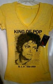 MICHAEL JACKSON T SHIRT RIP Womens Yellow SMALL