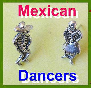 MEXICAN SKULL stud EARRINGS catrina DAY OF THE DEAD dia muertos COUPLE