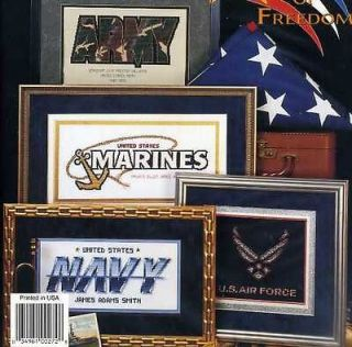 Military Logos, Eagle, Flag, 8 Designs Cross Stitch Book
