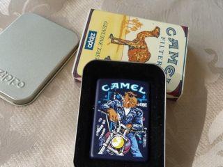 1996 Joe Camel In Blues, on Harley Zippo Cigarette Lighter, Mint in