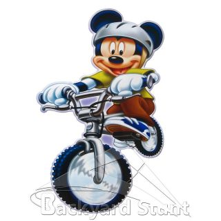 NEW Mickey Mouse On Bicycle Wall Sticker Decal TV Cartoon Decor Gift