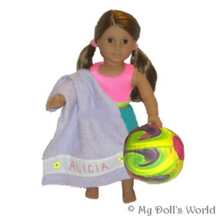 PERSONALIZED BEACH BALL/TOWEL FITS MY AMERICAN GIRL DOLL KANANI~JULIE