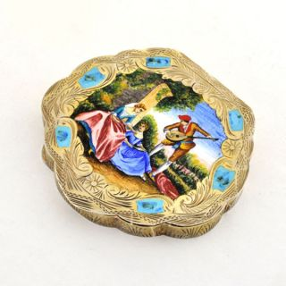 Antique Vermeil Hand Painted Enamel on Silver Compact Romantic Scene