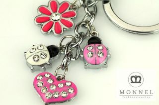 Z394 Cute Pink Lovely Ladybug Flower & LOVE Heart Charms Keychain