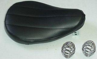 New Motorcycle Solo Seat Custom Bobber Harley w/Springs Black Ribbed V