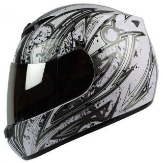 White Silver DOT APPROVED Motorcycle Full Face Helmet Street Bike