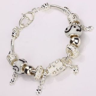 European Murano Glass Beads Silver Charm Bracelet +Gift Box PA01 For