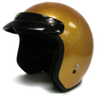 Motorcycle Helmet Vintage Gold Open Face Racer Chopper Bobber~M,L,XL