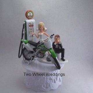 Dirt Bike Motorcycle Cake Topper Lime Green Bride Holding Key Gas Pump