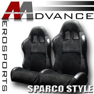 2pc SP Type Simulated Suede & PVC Leather JDM Blk Racing Bucket Seats