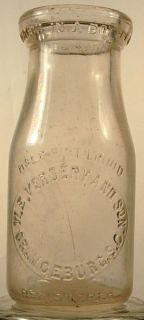 VERDERY AND SON ORANGEBURG SC HALF PINT MILK BOTTLE 1940S