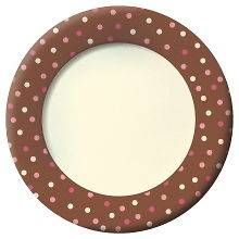 Dots Pink White & Brown Polka Dot 11 Wide Brim Party Paper Plates