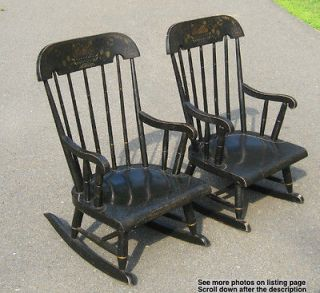 Pair Hitchcock Style Windsor Stenciled Childs Rocking Chairs Ebonized