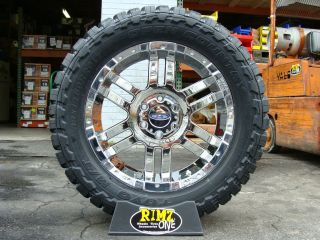 Metal 951 Chrome wheels rims 33x12.50R20 Toyo MT 33 mud tires MT
