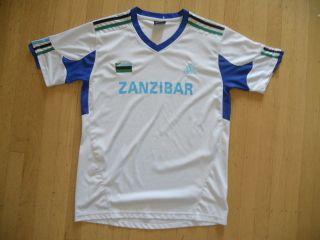 ZANZIBAR White/Blue AFRICA Soccer Football JERSEY Shirt Mens Large