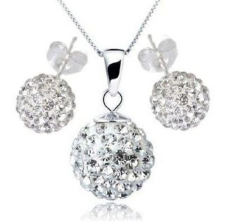 Lovely Sliver Disco Crystal Ball Pendant Silver Necklace&Ear Stud