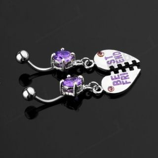 Pair BEST FRIEND Dangle Belly Navel Bar Ring Piercing