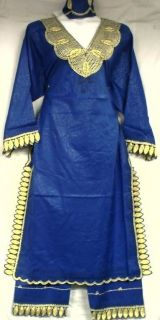 African Women Clothing Dress Pant Suit Royal Blue Gold NotCom M L XL