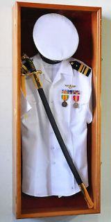 Military Shadow Box Uniform Sword Gun Pin Display Case