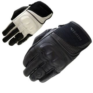 SHORT SUMMER SPORTS LEATHER MOTORBIKE MOTORCYCLE CRUISER GLOVES WHITE