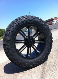 BLACK RIMS TIRES HUMMER H1 H2 CHEVY 37 13.50 22 NITTO TRAIL GRAPPLER