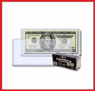 10) BCW Rigid CURRENCY dollar bill note holder.