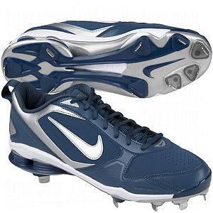 Mens Nike SHOX Fuse 2 Metal Baseball Cleats Spikes Blue Silver White