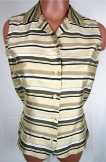 Ann Taylor Sz 4 Sleeveless Silk Blouse Shirt Button Front  Beige/Brown