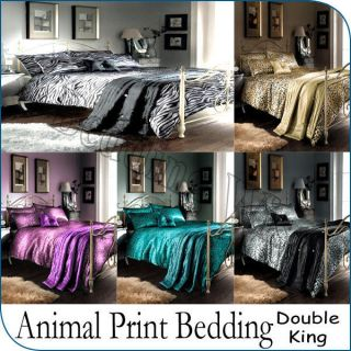 5Pcs Animal Print leopard Zebra Bedding Polyester Comforter Bed Set