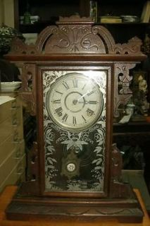 Antique E N WELCH Parlor Kitchen clock Working .Enamelled pendulum