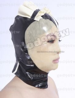 100% Latex Gummi Rubber Maid Nurse Mask Hood 0.8mm Ruffle Trim