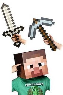 Minecraft 12 Steve Head, Sword, Pickaxe & Costume Kit